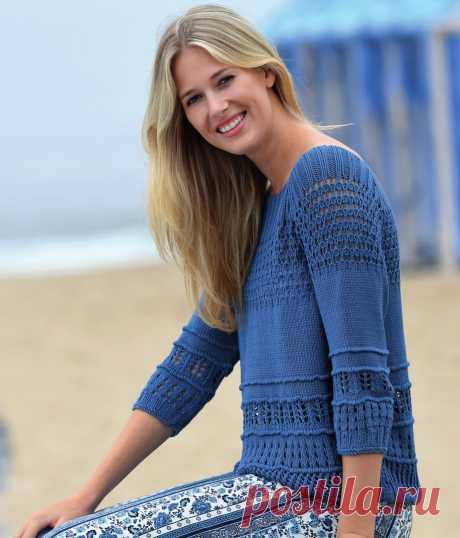 Пуловер с сочетанием узоров Размеры: 34-36, 38-40 и 42-44. Данные для размера 38-40 приведены в скобках, для размера 42-44 - в двойных скобках.  Если указано одно значение, оно применяется ко всем 3 размерам.  Длина пуловера примерно всего 56 (57) ((58)) см.