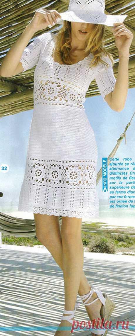 Стильные летние платья-сарафаны, крючком.