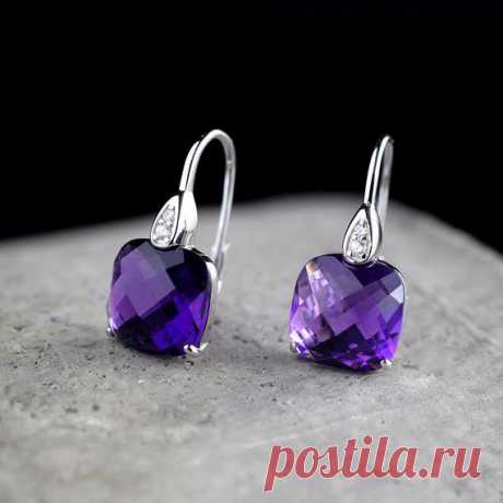 Amethyst Earrings / Bride Wedding Earrings for Bridesmaids /Sterling Silver Drop Crystal Earrings Product Details:  Material: Amethyst, 925 Silver  Color: purple, brown  Shape: square  Size: height 12, width 12 (mm)  Weight: 5.7 grams (28.5 carats)  Translucent: translucent  Symbol: Good luck to you