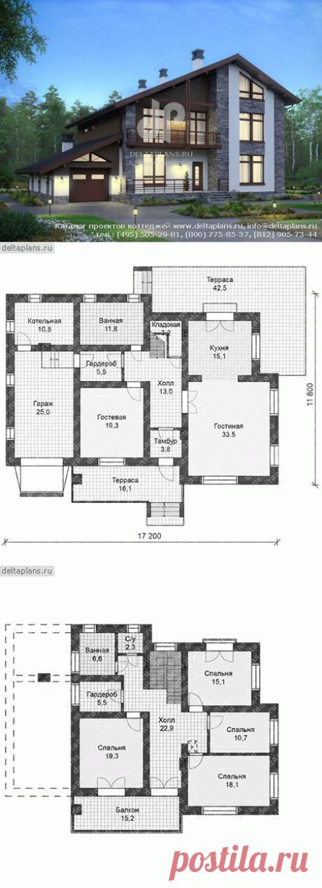Проект большого дома с гаражом № V-241-1P
