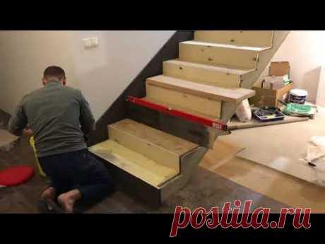 Прямая лестница с площадкой - все этапы Лестница на бетоне. Как поклеить фанеру и ступенеки.