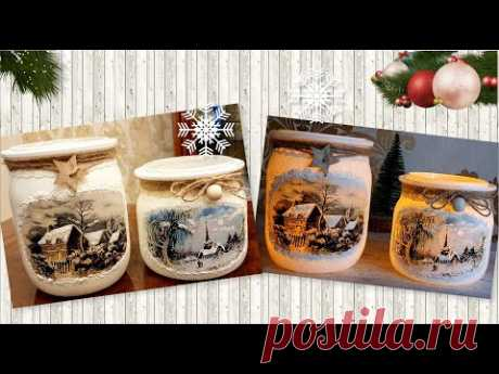 DIY Very Easy Winter Candle Holder❄Glass jars Craft Ideas