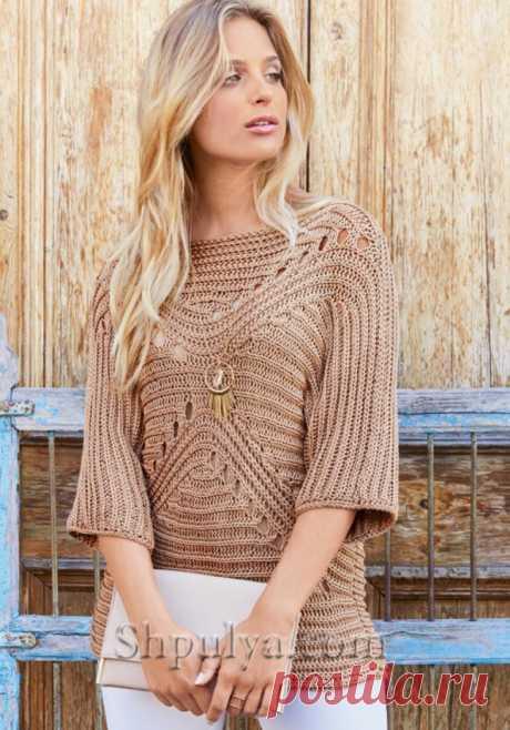 Бежевый пуловер с фигурным узором — Shpulya.com - схемы с описанием для вязания спицами и крючком