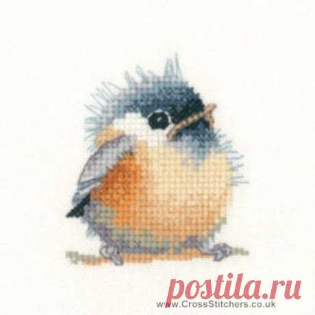 Birds - Chickadee - Valerie Pfeiffer Little Friends Cross Stitch Kit from Heritage Crafts