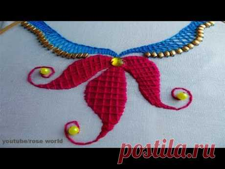 Hand Embroidery stitch: Neck design for dress/blouse/kurti