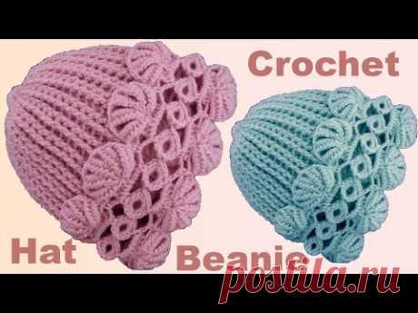 Gorro a Crochet de argollas y abanicos tejido con ganchillo principiantes