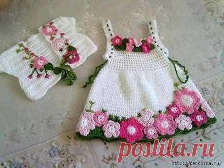 Очаровательное платье «Весна» для девочки 1 года (Вязание крючком) — Журнал Вдохновение Рукодельницы