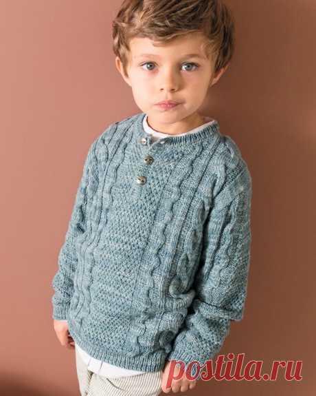 Пуловер для мальчика с узором из кос - Портал рукоделия и моды