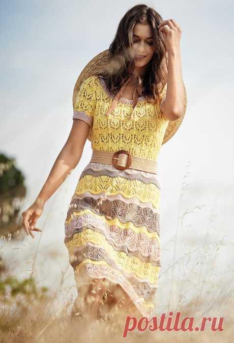 Платье с волнистым узором в полоску | Вязание для женщин спицами. Схемы вязания спицами Платье с волнистым узором в полоску из журнала VERENA |     ВАМ ПОТРЕБУЕТСЯ     Пряжа (100% хлопка; 120 м/50 г) — 300 (350) 400 г желтой, 200 (250) 250 г цв. пудры и 150 (150) 200 г серо-коричневой; спицы №3; круговые спицы № 3.     ПЛАТОЧНАЯ ВЯЗКА     Лицевые и изнаночные ряды — лицевые...