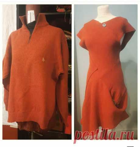 Дизайнерское платье из мужского свитера - идея переделки