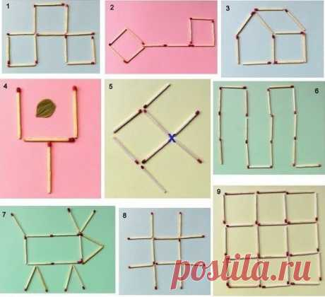 """MATCH PUZZLES 1. It is necessary to shift 5 matches so that 2 squares turned out. 2. Key. To shift 4 matches so that 3 squares turned out. 3. Lodge. To shift 2 matches so that the house """"смотрел"""" in other party. 4. Scoop. To shift 2 matches so that the leaf lying in a scoop appeared out of it. 5. Small fish. To shift 3 matches so that fish """"поплыла"""" back. 6. Snake. To shift 5 matches so that 2 squares turned out. 7. Cow. To shift 2 matches so that …"""