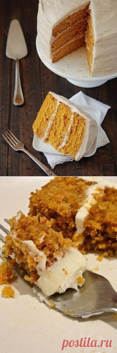 Морковный торт с грецкими орехами и корицей.