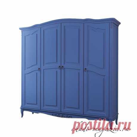 Синий 4-х дверный распашной шкаф на ножках