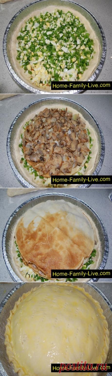 Курник с курицей и грибами/Сайт с пошаговыми рецептами с фото для тех кто любит готовить