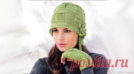Шляпка и митенки  для истинной леди. Описание   Вязаные крючком аксессуары Женственный образ. Светло-зеленая шляпка и митенки для истинной леди. Крючок Маленькая круглая шляпка в стиле 20-х годов, украшенная цветком, и подходящие к ней митенки возвращают нас в эпоху неповторимых женственных образов. Вам потребуется: 150 г для шляпы и 100 г для митенок...