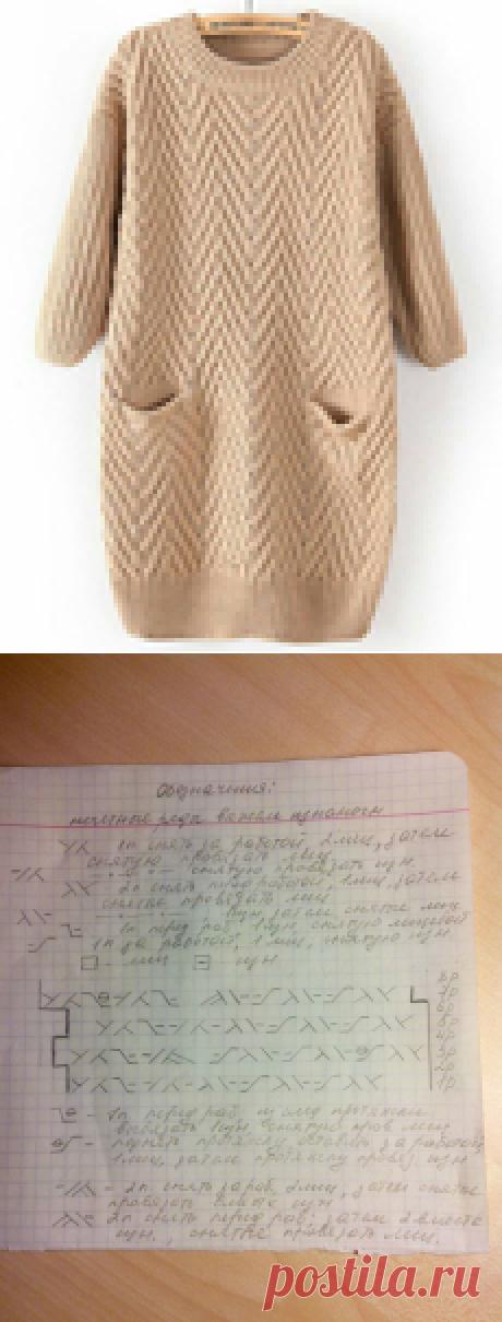 Пуловер спицами (узор елочка)