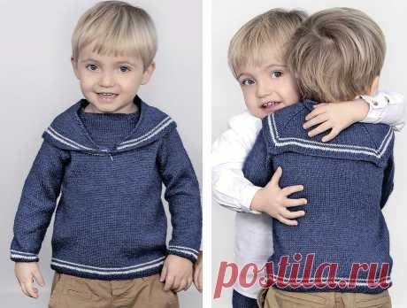 Пуловер с матросским воротником - схема вязания спицами с описанием на Verena.ru