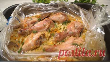 Капуста с курицей в рукаве, запеченная в духовке – это удивительно вкусное...