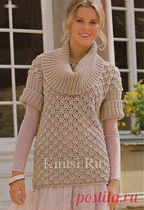 Пуловер с отдельно связанным воротником. Вязание для женщин / Пуловеры / Крючком