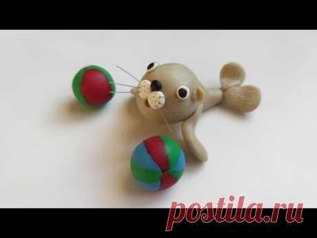 🌊 Как слепить тюленя из мастики, пластилина, полимерной глины (Cake/Fondant Topper - Seal). - YouTube