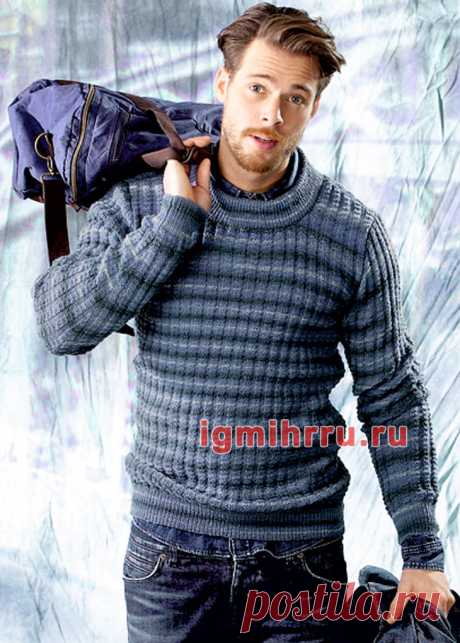 Мужской повседневный пуловер в полоску. Вязание спицами