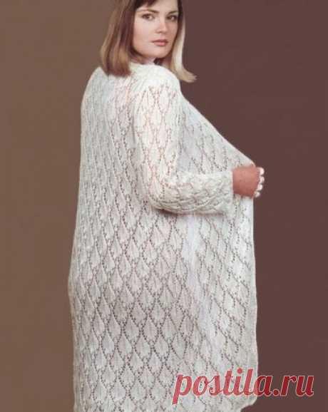 Белое ажурное пальто спицами. Вязаное пальто спицами с описанием | Домоводство для всей семьи.