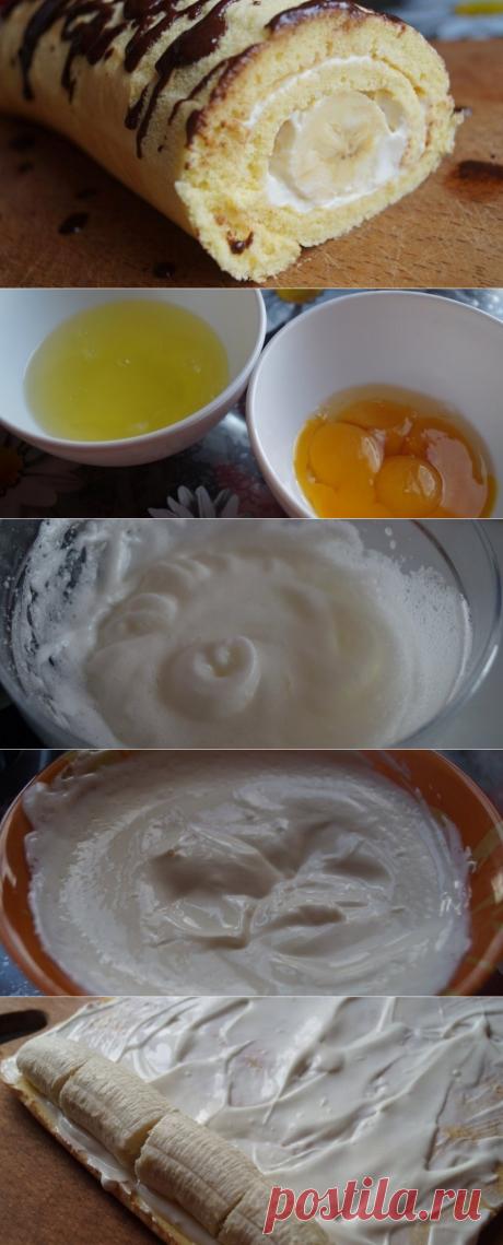 Как приготовить рулет с бананом - рецепт, ингредиенты и фотографии