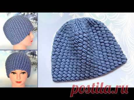 Шапка крючком из пышных столбиков. Мастер класс. Crocheted hat pattern