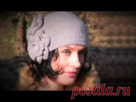 Knitted cap spokes: 1st MK. A vintage hat spokes with flowers. Knitted caps spokes - YouTube