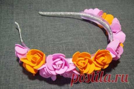 Ободок с цветами из фоамирана | CityWomanCafe.com