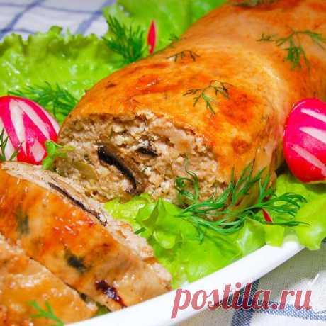 Рулет из курицы с шампиньонами и грецкими орехами - пошаговый рецепт с фото на Готовим дома
