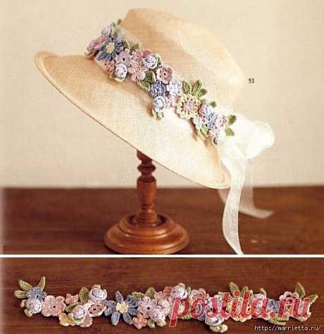 """Красивый цветочный ободок для шляпки   Вязаные крючком аксессуары На сайте """"Сделай сам - идеи"""" не смогла пройти мимо красивого украшения для шляпы, а можно для ободка, а можно..., можно долго продолжать как использовать эти красивые нежные цветы...Язык значения не имеет: самое главное - это схемы."""