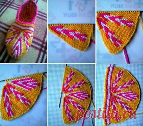 Вязание тапок спицами