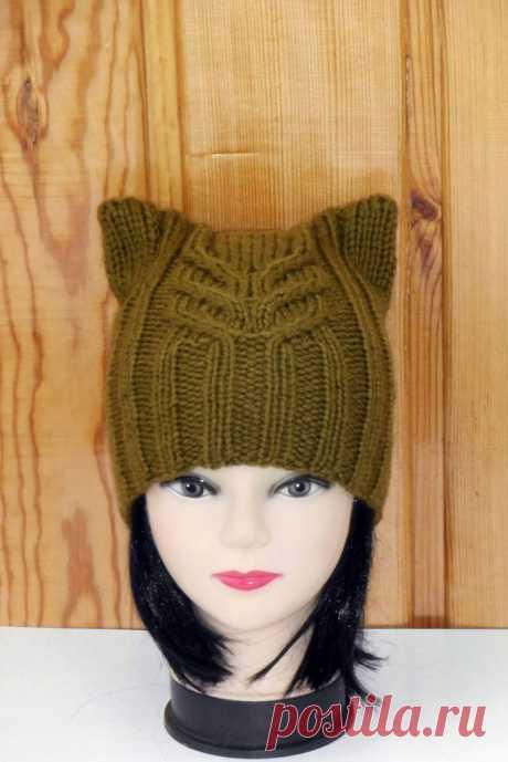 Связать шапку с ушками - описание схемы вязания и особенности украшения котошапок (120 фото)