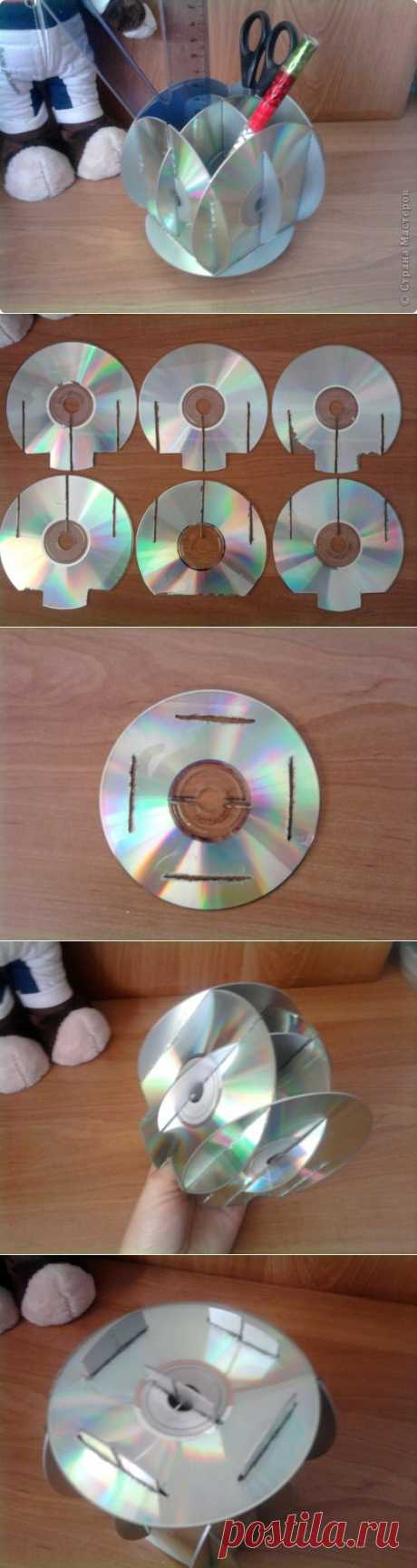 Подставка для ручек из дисков + МК | Страна Мастеров