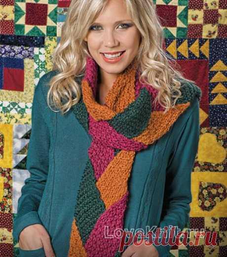 Цветной длинный шарф в лоскутной технике схема спицами » Люблю Вязать