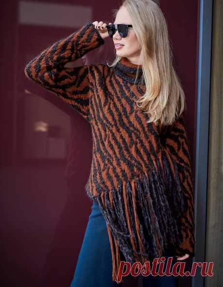 Жаккардовый свитер с бахромой - схема вязания спицами. Вяжем Свитеры на Verena.ru