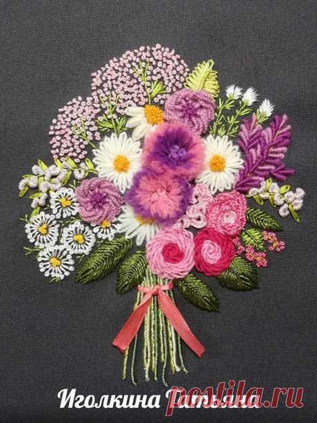 Совместная вышивка букета цветов по МК Наталии Левченко (бразильская вышивка)