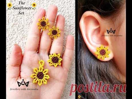 The Sunflower Set 🌻 How To Make Beaded Sunflower Stud Earrings, Pendant And Ring ☀️