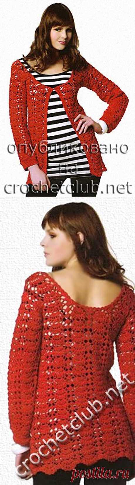 Красная кофточка, связанная крючком - Вязание Крючком. Блог Настика