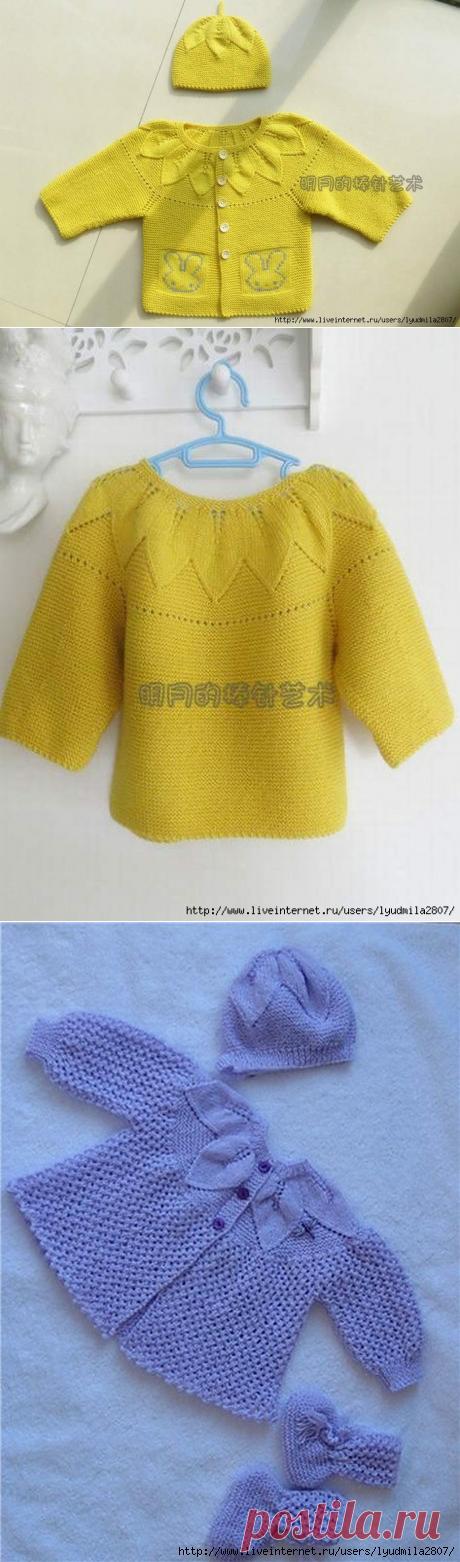 Кофта на кокетке и шапочка для новорожденных с китайского сайта: Дневник группы «ВЯЖЕМ ПО ОПИСАНИЮ»: Группы - женская социальная сеть myJulia.ru