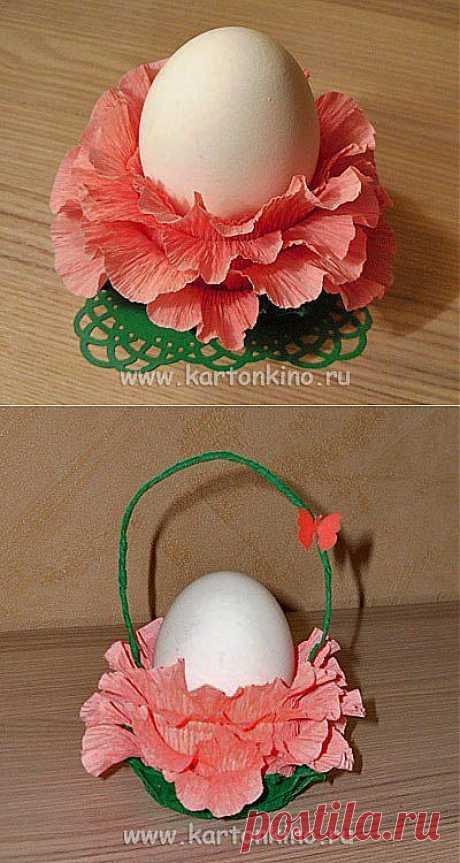 Подставка для пасхального яйца из цветной гофрированной бумаги