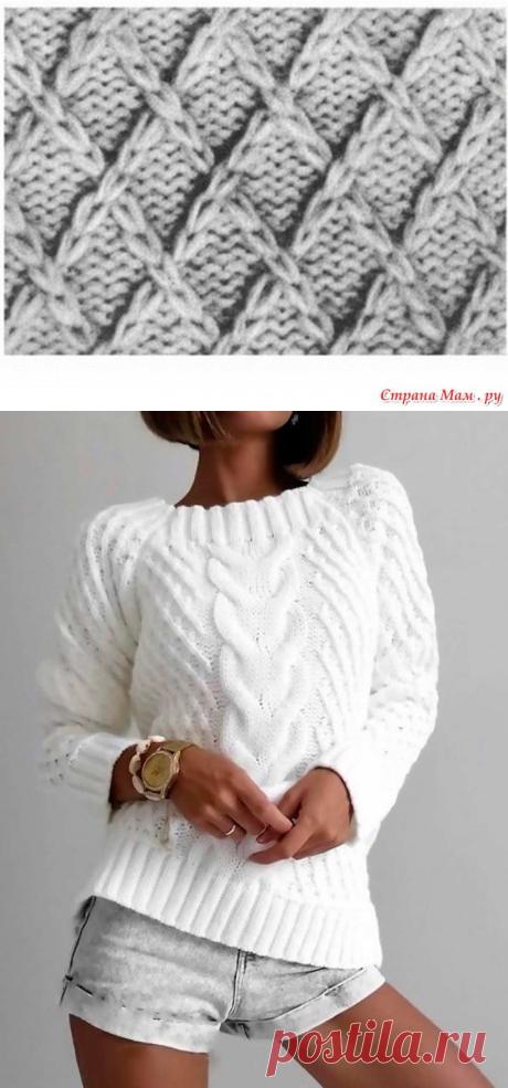 Белый джемпер с косой, связанный спицами, Вязание для женщин
