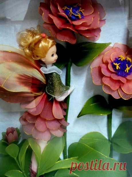 Куколки и цветы из капрона. Идеи для вдохновения