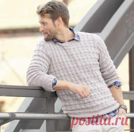 Мужской пуловер со смещенной резинкой - клуб рукоделия Три Иголки