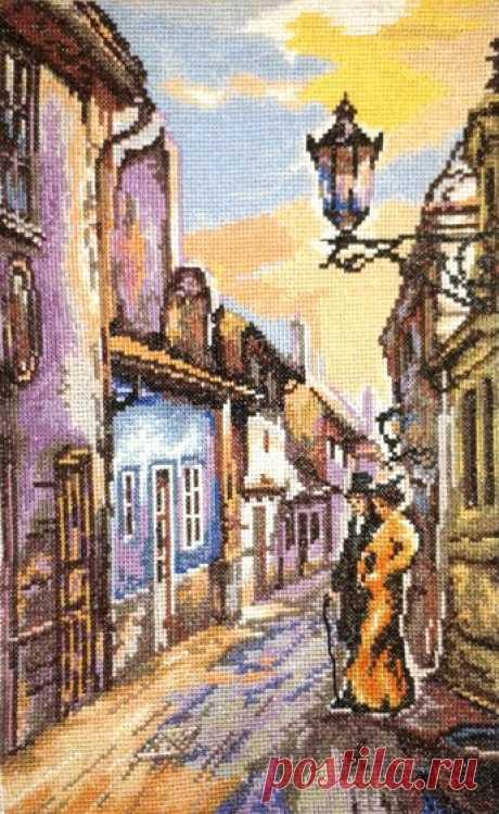 Вышивка «Золотая улочка в старом стиле» - Вышивка крестом