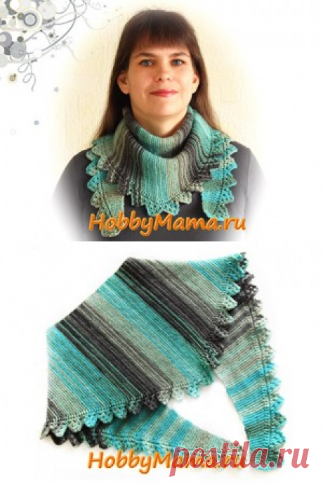 Вязание спицами: Шарф-бактус с ажурной каймой. Описание. Схема   HobbyMama