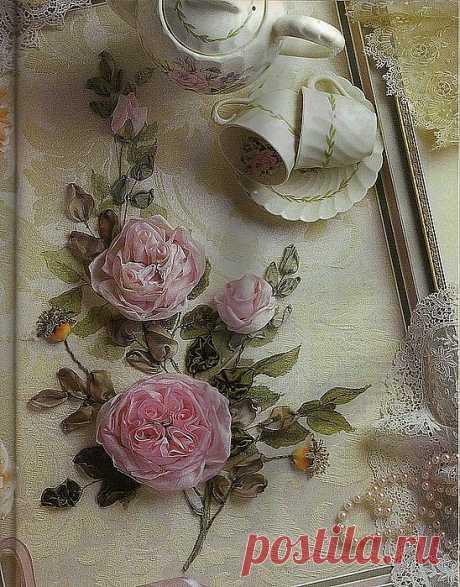 Вышивка лентами. Веточка розы..