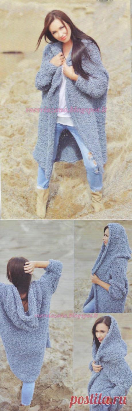 ВСЕ СВЯЗАНО. ROSOMAHA.: Вязаное пальто или жакет с капюшоном- очень быстро из ленточной пряжи.