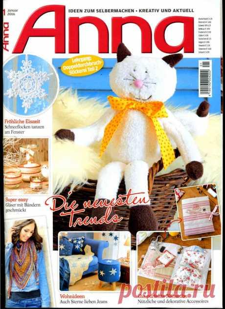 Anna №1 2016 (вышивание, вязание, декор, шитьё)